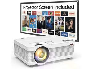 """QKK QK02 Portable LCD Mini Projector 6500 Lumens, Full HD 1080P Supported, Compatible with Smartphone, TV Stick, Games, HDMI, AV, 100"""" Projector Screen Included"""