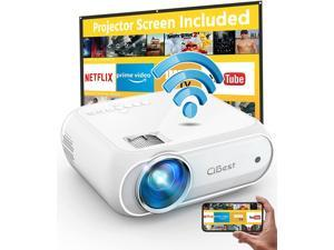 CiBest BL108 WiFi Projector Native FHD 1080P, 7500 Lumens Home Movie Projector, Compatible with iPhone, Android, TV Stick, etc. Comes with Projector Screen