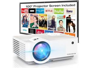 """TOPVISION T6 Portable Mini Projector 6500L with 100"""" Screen, 1080P Supported, Built in HI-FI Speakers, Compatible with Fire Stick, HDMI, VGA, USB, TF, AV, PS4"""