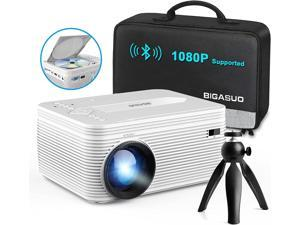 BIGASUO Pro302 Bluetooth Projector with Built-in DVD Player, Portable Mini Projector Compatible with Phone/Pad/HDMI/VGA/AV/USB/TF SD Card, 720P Native Full HD 1080P Supported