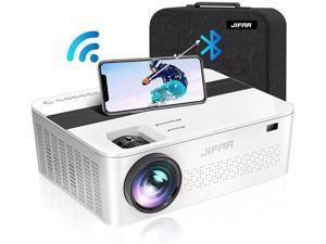 """JIFAR H6 WiFi Bluetooth Projector Native 1080P with 450"""" Display, 9000 Lux, Support 4K, Dolby, Zoom, Keystone Correction, Compatible with TV Stick,HDMI,VGA,USB,Smartphone,PC"""