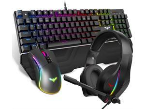 HAVIT Wired Mechanical Keyboard Mouse Headset Kit Blue Switch Keyboards Gaming Mouse & RGB Headphones for Laptop Computer PC Games