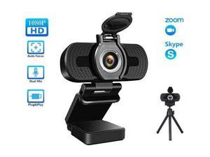 E-prix 1080P Webcam for PC, Full HD Computer Camera with Cover, USB Web Cam with Microphone, Cover, Expandable Tripod, Streaming Camera for Skype, Streaming, Teleconference etc.