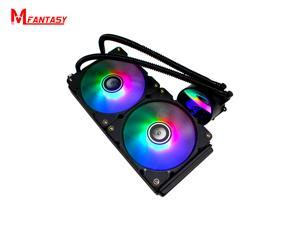 240mm AIO RGB CPU Liquid Cooler - Powered By CAM V4 - RGB Connector - 2 x 120mm Radiator Fans-Hydraulic Bearing, Computer Water Cooling System for AMD Ryzen/Intel