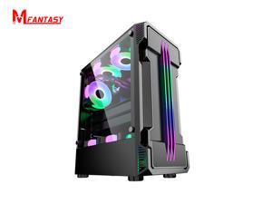 Mfantasy Gaming PC Computer Case ,ATX Mid Tower Desktop PC case,USB 3.0 (Fans are not included)(black)