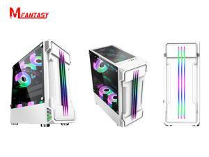 3pcs RGB Fans ATX Mid-Tower Chassis Gaming PC Case, Tempered Glass Panels Gaming Style Windows Computer Case Desktop Case USB3.0 (white )