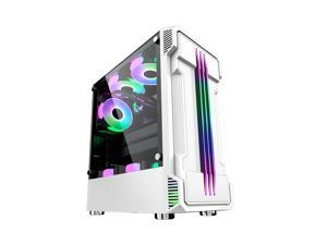 ATX Mid Tower Gaming PC Computer Case ,6 RGB LED fans can be installed USB 3.0 Desktop PC case(fans not included)