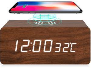 Digital Alarm Clock with LED Displays Time/Temperature,Wireless Charging Function Clocks,Sound Control,5 Alarm,4 Brightness Desk Clock,Wooden Custom Alarm for Home Bedroom Kid,Brown
