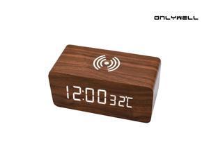 Digital Alarm Clock with LED Displays Time/Temperature,Wireless Charging Function Clocks,Sound Control,5 Alarm 4 Brightness Desk Clock,Wooden Custom Alarm for Home Bedroom Kid,Brown