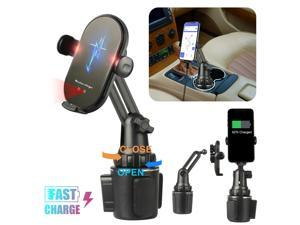 Adjustable Car Cup Holder Qi Wireless Charger Phone Mount Fast Charging Ston