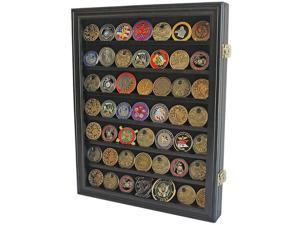 Challenge Coin Display Cabinet Holds 49 Coins Medal Rack Cassette with Lock Case