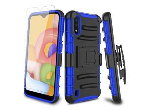 For  Galaxy A01 Kickstand Case Belt Clip,Tempered Glass Screen Protector