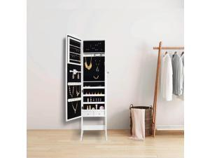 ® Mirrored Jewelry Cabinet Armoire Mirror Organizer Storage Box +Stand