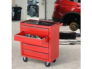 Roller Tool Cabinet Stoarge Box 5 Drawers on Wheels Garage Workshop Red