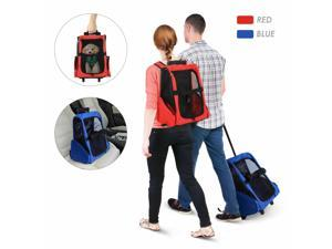 Pet Luggage Box Dog Cat Travel Backpack Carrier w/Rolling Wheels Stand