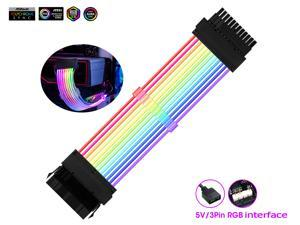 Addressable RGB Power Extension Cable  18AWG 24Pin ATX Power Supply PSU Cable with Combs 24CM Sleeved Cable Extension PC Kit
