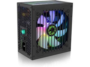 RGB Power Supply 600W Semi Modular 80+ Bronze, RGB Fan ATX Half Modular Power Supply