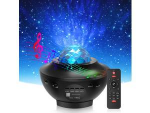 Star Projector & Night Light, Mlay 2 in 1 Ocean Wave Night Light Projector with Remote Control & Auto-Off Timer, Galaxy Projector with LED Nebula Cloud with Bluetooth Speaker for Kids Bedroom