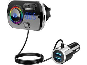 Bluetooth FM Transmitter 5.0, Bluetooth Car Adapter with Dual USB Ports(QC3.0/2.4A), Wireless Bluetooth FM Radio Adapter MP3 Music Player with 7 Colors Support Hands-Free Calls, TF Card AUX