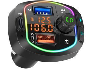 Mlay Bluetooth FM Transmitter for Car, BT V5.0 Radio Adapter, 36W PD & QC3.0 Smart Charger, Hands-Free Call Kit, Battery Voltage Monitor, LED Backlit, Siri Google Assistant, Support U Disk/TF Card