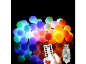 33ft 80 LED String Lights USB Powered Waterproof RGB Bulb Decorative Lighting for Patio Garden Indoor and Outdoor Bedroom Christmas Party  Outdoors Camping