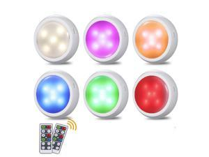 Wireless Under Cabinet Light, 6 Pack RGB Color Dimmable Puck Lights with 2 Remote, Timing Function, Battery & USB Powered, Stick On Anywhere