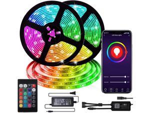 WIFI LED Strip Lights Music Sync Color Changing 32.8ft RGB 300 LEDs SMD5050 Flexible Tape Waterproof Remote & APP Control Work with Alexa, indoor and ourdoort home and bedroom decoration