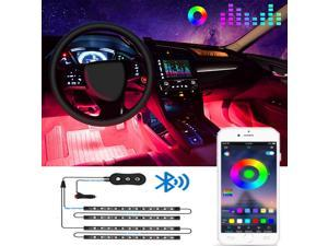 didaINT Interior Car Lights, LED Car Strip Lights with 2 Lines Waterproof Design, 48 LEDs App Control Car Light Kit, DIY Mode and Music Sync Under Dash Car Lighting with Car Charger, DC 12V