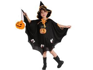 didaINT Halloween Cloak Pumpkin Skeleton Role Play Washable Cloak with Witch Hat, Suitable for Children and Girls Black