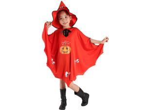 didaINT Halloween Cloak Pumpkin Skeleton Role Play Washable Cloak with Witch Hat, Suitable for Children and Girls Red