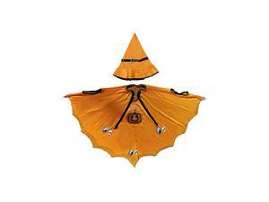 didaINT Halloween Cloak Pumpkin Skeleton Role Play Washable Cloak with Witch Hat, Suitable for Children and Girls