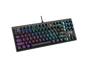 RGB Gaming Mechanical Keyboard, LED Backlit USB Wired Keyboard with Blue Switches for Windows PC Office and Working (Black, 87Keys)
