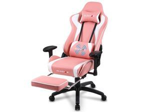 Alistar Pink Gaming Chair Racing Office Chair High Back Computer Desk Chair PU Leather Chair Ergonomic and Executive Swivel Chair with Footrest Headrest and Lumbar Massage Support