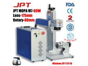 """110V Fiber Laser Marking Machine MOPA JPT M7 60W Deep Engraving Cutting Color Marking on Stainless Steel & Anodized Aluminum Marking Black Marking Area 6.9"""" × 6.9""""  with Rotary Axis 80mm USA Stock"""