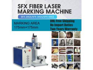"""110V Fiber Laser Marking Engraving Machine JPT 20W Metal Steel Aluminum Copper Plastic Wood Acrylic Leather Working Area 6.9""""×6.9""""  with Rotary 80mm"""