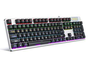 KITCOM Mechanical Gaming USB WiredKeyboardNK30 with Cherry MX BlueSwitch Equivalent, Rainbow LED Backlit Dual-Shot Keycaps104 Keys Full Size Computer Laptop Keyboard for Windows PC/MAC Gamers