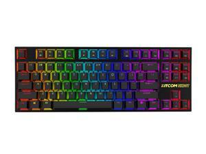 KITCOM TKL RGB Mechanical Gaming Keyboard NK60T Linear/Quiet-Red Switch Fast Actuation Compact 87 Keys Tenkeyless Detachable USB Type-C NKRO Computer Laptop Wired Keyboard for Windows PC/MAC Gamers