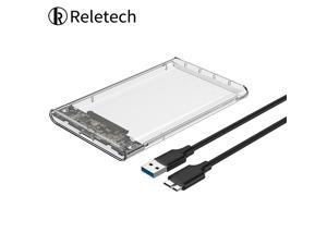 Reletech  Type-C Gen 1 USB 3.1 2.5 inch External Hard Drive Disk Tool Free Enclosure case for 7mm-9.5mm SATA HDD SSD Up to 5Gbps - Transparent