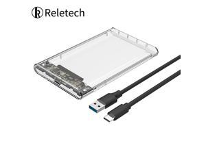 Reletech  Type-C Gen 1 USB 3.1 2.5 inch External Hard Drive Disk Enclosure Box Tool Free Enclosure case for 7mm-9.5mm SATA HDD SSD Up to 5Gbps - Transparent