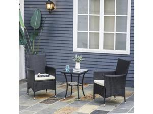 3pcs Garden Wicker Bistro Set Outdoor Furniture All Weather Coffee Table