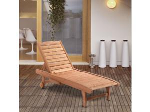 Wooden Chaise Lounge PooRecliner l Chair w/ Pullout Tray  Wheels Garden