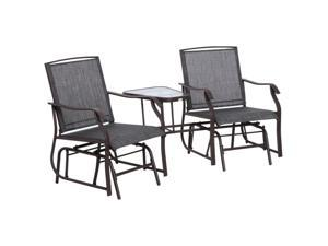 Double Glider Chairs w/ Center Table High Back Bench Set Fabric Glass