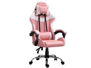 Racing Gaming Chair w/ Lumbar Support, Office Gamer Recliner, Pink