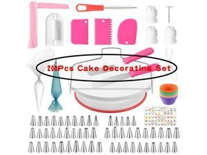 200Pcs Cake Cream Spatula Set Pastry Bags Nozzles Icing Decorng Smoother Set