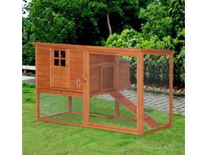 Wooden Chicken Coop Hutch Backyard Poultry Hen House w/ Nesting Box  Run