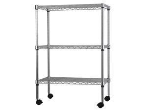 3/5 Tier Level Shelf Adjustable Wire Metal Commercial Shelving Rack w/ Rolling