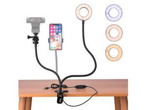 Webcam Light Stand for Live Stream, 360° Rotating Flexible Gooseneck Selfie Ring Light with Webcam Mount and Phone Holder for Logitech Brio 4K, C930e,C930, C925e, C922, C922x,C615