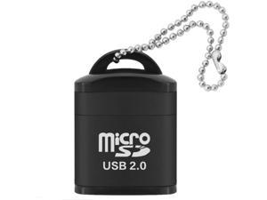 Mini USB 2.0 Card Reader Micro SD Card Adapter for TF/Microsd Cards Reading High Speed Cardreader with Plastic Lid Key Ring (Black)