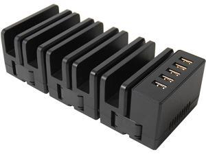 5 Port Charging Station Organizer 36W - 5 Adjustable Slot for Customized Setup - for iPhone, iPad, Android Phone & Tablet