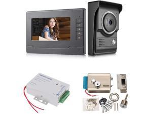 Video Intercom System, Wired Video Door Phone Ktis with 7 Inches Monitor + Camera + Power Supply Control + Electric Door Lock for Villa House Office Apartment